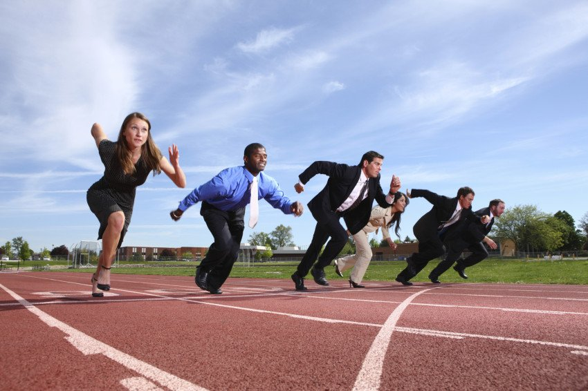 """Business People Racing on Track"", via Daniel Hurst, ThinkStock."
