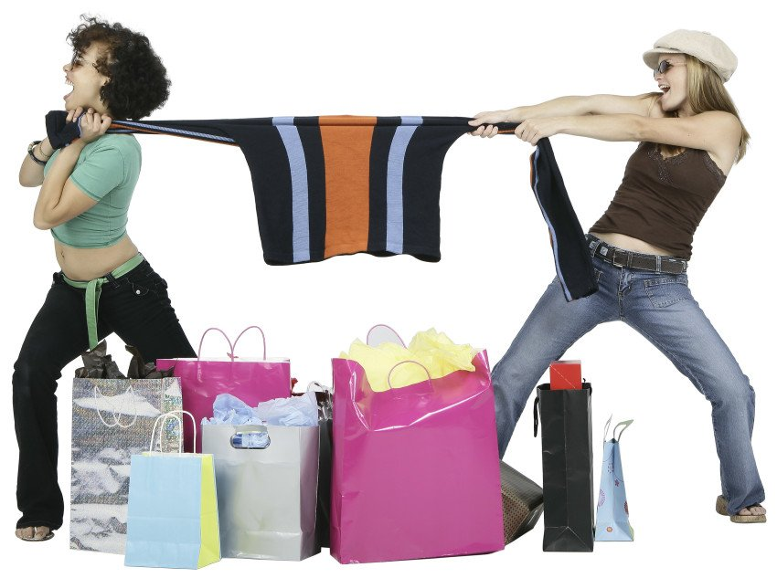"""Female Shoppers Fighting Over a Sweater"", via Photos.com, ThinkStock."